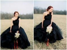 black wedding inspiration, black wedding details, black wedding color, black wedding dress, one shouldered wedding dress, bride in boots