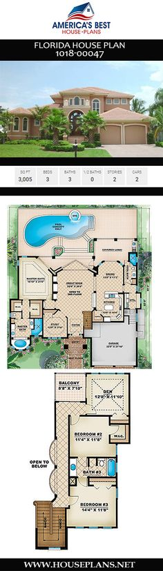 Consider Plan 1018-00047 if you're looking for a house plan that optimizes natural light. This Florida house plan includes 3,005 sq. ft., 3 bedrooms, 3 bathrooms, a home office, a lanai, a mud room, and a 2 car garage. Florida House Plans, Florida Home, Pink Houses, Dream Houses, Jack And Jill Bathroom, Building Section, Best House Plans, Roof Design, Front Entry