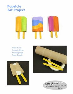 popsicle art project can see especially for summer time ice cream stand play Projects For Kids, Art Projects, Crafts For Kids, Kindergarten Art, Preschool Art, Summer Crafts, Summer Art, Summer Time, Popsicle Art