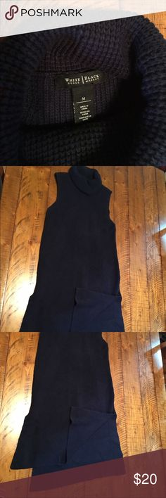 Navy blue knit cowl neck sleeveless pullover White house black market knit sleeveless pullover. Great with white jeans and sandals White House Black Market Tops