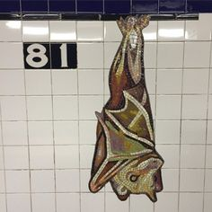 Bat mosaic in a subway