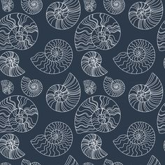 Fossils in Navy fabric by zoecharlotte on Spoonflower - custom fabric
