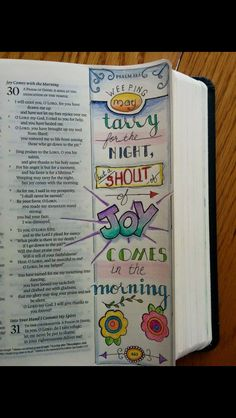 Psalm 30:5 in journaling Bible.  I love how the page number is even decorated.  Lovely sidebar/ art in the margins