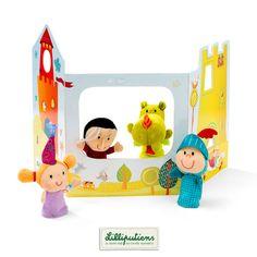 Set de marionnette à doigts et décor 'Contes' - Lilliputiens - Set of finger puppets and fairy tale scene