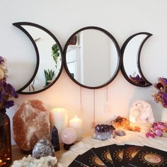 Crystal Room Decor, Crystal Bedroom, Room Ideas Bedroom, Bedroom Decor, Spiritual Decor, Moon Decor, Crystals In The Home, Aesthetic Room Decor, My New Room