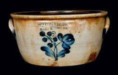 """Price Realized: $ 316.25 Unusual Two-Gallon Cobalt-Decorated Stoneware Bowl, Stamped """"COWDEN & WILCOX / HARRISBURG, PA,"""" circa 1865, with rounded sides, flattened rim, and applied lug handles, decorated with a scarce cobalt design"""
