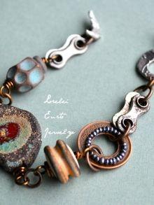 Lorelei Eurto Jewelry   Shop - Rustic Textured Mixed Elements Bracelet - Bicycle…