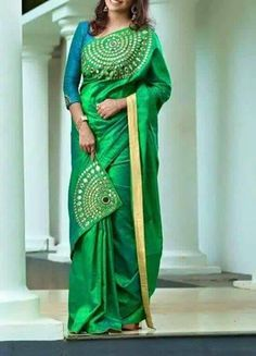 Peacock Colour matching silk saree with patch style Blouse Patterns, Saree Blouse Designs, Beautiful Saree, Beautiful Outfits, Indian Dresses, Indian Outfits, Saree Painting, Simple Sarees, Stylish Sarees