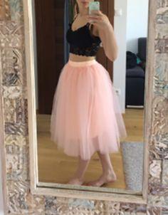 b2a3dbade1fbc Mi-longue jupe plissé taille élastique tutu en tulle élégant femme rose -  Jupes -