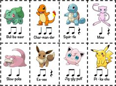 Did you know that almost all Pokemon names are two beats long?Challenge your students to create rhythm compositions by using the names of their favorite Pokemon. I've given you 8 cards here, but your students will know hundreds of Pokemon to work with! Elementary Music Lessons, Music Lessons For Kids, Music Lesson Plans, Music For Kids, Drum Lessons, Elementary Schools, Music Worksheets, Reading Music, Music School