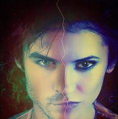 Ian Somerhalder (Damon Salvatore) & Nina Dobrev (Elena Gilbert) The Vampire Diaries