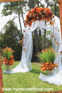 fall wedding archway ... little to thick, i would use a thinner version and twist it all around down to the ground