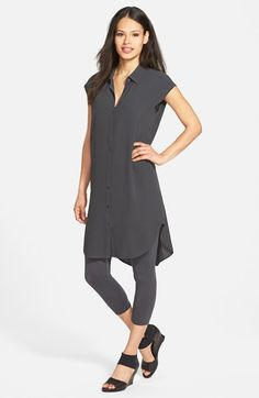 Eileen Fisher Classic Collar Silk Tunic (Online Only)