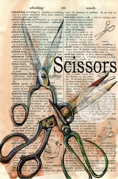 Old Scissors Mixed Media Drawing on Distressed, Dictionary Page - by Kristy Patterson at Flying Shoes Art Studio: Art Pop, Book Page Art, Book Art, Altered Books, Altered Art, Newspaper Art, Foto Transfer, Observational Drawing, Mixed Media Photography