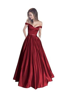 1ba6e4c8b992 Harsuccting Off The Shoulder Beaded Satin Evening Prom Dress with Pocket  Burgundy Bridesmaid Dresses, Prom