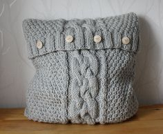Cable pillow cover knit pillow cover light grey by CreamKnit