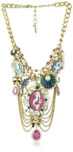 "$195 Betsey Johnson ""Sea Excursion"" Mermaid Multi-Charm Bib Necklace: Jewelry"
