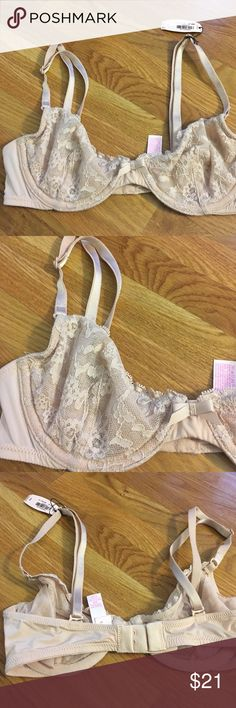 NWT Victoria Secret Lace Convertible Bra Unlined New with tags. Nude lace. Back is convertible for this to transition to crisscross or Racerback. Victoria's Secret Intimates & Sleepwear Bras