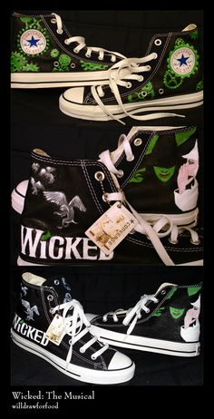 I DO NOT own Wicked or any of the characters or copyrights! I made these solely based on my insane Wicked obsession! My Wicked Converse Broadway Wicked, Wicked Musical, Musical Theatre Broadway, Theatre Nerds, Theater, Painted Shoes, Painted Sneakers, Defying Gravity, Dream Shoes