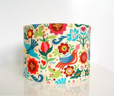 Fabric lampshade drum - designer bird multi coloured fabric, table lamp - by MadeInFabric on madeit