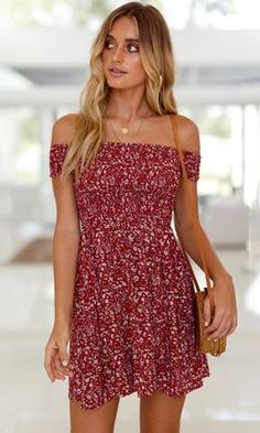 Better With You Red Floral Pattern Short Sleeve Off The Shoulder Skater Flare Casual Mini Dress An allover floral print adds a sweet touch to this casual mini dress. The Better With You mini dress features short sleeves and an off the shoulder bodice with Types Of Dresses, Cute Dresses, Casual Dresses, Short Dresses, Dresses With Sleeves, Short Sleeves, Floral Dresses, Short Mini Dress, Prom Dresses