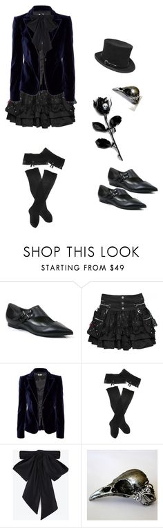 """""""Violent Serenity"""" by monochrome-world ❤ liked on Polyvore featuring Faith, Miu Miu, Trasparenze, Yves Saint Laurent, AB A Brand Apart, gothic and goth"""