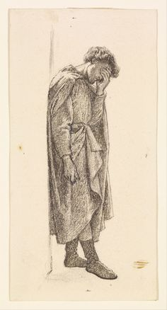 The Prince's Progress - Figure Study of the Prince for 'You should have wept her yesterday', 1865-66, Dante Gabriel Rossetti
