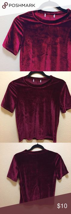 """Fitted wine velveteen crop top Will add photos & measurements shortly. Fits me well and my measurements are 32d, 28x 39"""". Bought second hand but is still in lovely condition- no flaws as far as I can tell. No tag so am unsure of brand— looks very similar to things UO, zara and topshop have. Tagging boohoo as I am unsure. Boohoo Tops Crop Tops"""