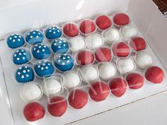 Custom Cake Balls representing the American Flag.