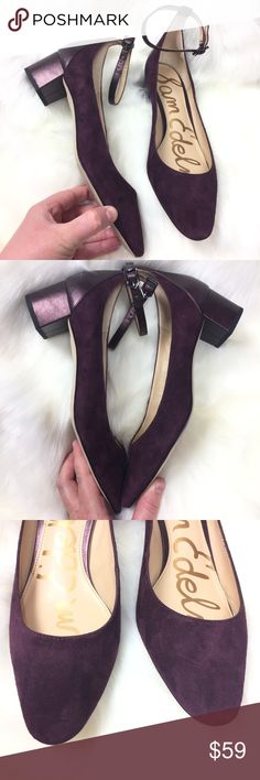 SAM EDELMAN PURPLE SUEDE LEATHER METALLIC STRAP Size 8.5 Heels. Great preowned condition! Sam Edelman Shoes Heels