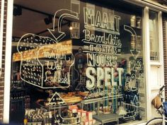 STACH | Amsterdam. Love the window designs!  Easy to do with liquid chalk markers like Wonder Chalk!
