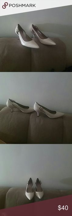 Shoes Bone color slingback with snake skin like texture. Never been worn CIRCA.  Joan&David Shoes Over the Knee Boots