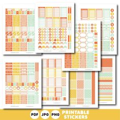 Orange coral and mint printable monthly and weekly planner stickers kit, STI-393