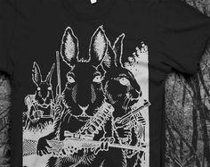 Rabbits with Guns - Mens Tshirt.