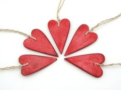 Red heart Valentine clay ornament gift tag by AntigoniCreations