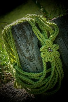 Ladies scarf Crochet Chain Rope accented with flower and vintage leaf pin in Lime Green. $22.00, via Etsy.