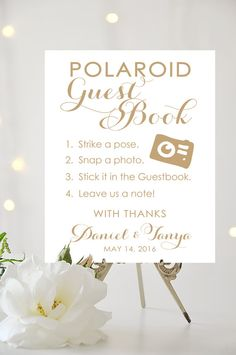 Polaroid Guest Book Sign  8 x 10 or 11 x 14 by CharmingEndeavours