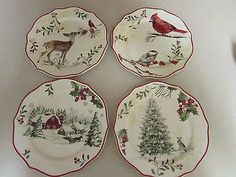 Christmas Better Homes And Garden Mistletoe Salad Plate Set Of 4