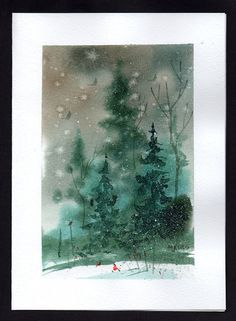 Watercolor Christmas Cards | Hand painted Watercolor Christmas Card by mjonesart on Etsy
