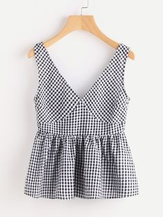 SheIn offers Double Plunge Neck Gingham Peplum Shell Top   more to fit your  fashionable needs. 26679aad2