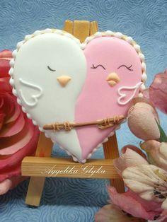 Aggelika Glyka:  Two birds on a heart Valentine