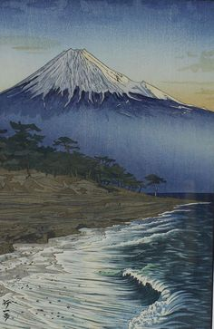 FUJI BY SEASIDE BY KOICHI OKADA. There are many wonderul images of Mt. Fuji, but this is one of the few seen from the ocean.