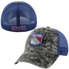 5c631c5d0 Mens New York Rangers  47 Brand Royal Blue Digital Camo Fortress Flex Hat