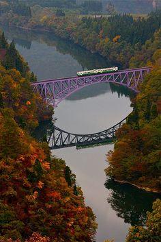 Tadami Line and Tadami river Fukushima, Japan Fukushima, Wonderful Places, Beautiful Places, Railroad Bridge, Bridge Design, Train Tracks, Train Rides, Covered Bridges, Japan Travel