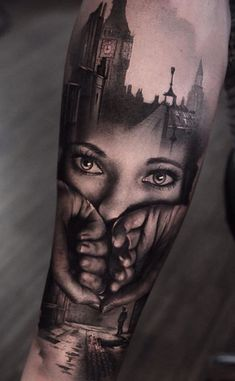 double exposure tattoo by Thomas Carli Jarlier