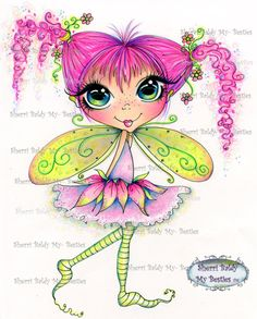 INSTANT DOWNLOAD digitale Digi Stamps Big Eye Big Head Dolls neue My Friends img786 Fairy Bestie von Sherri Baldy