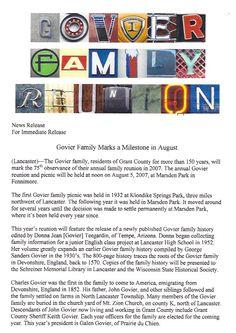 2015 Govier Family Reunion invitation