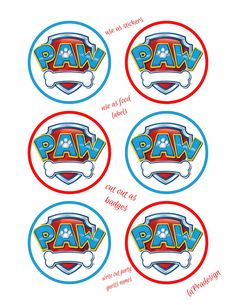Paw Patrol Birthday Party Badge 3 inch circles 2 PDF files