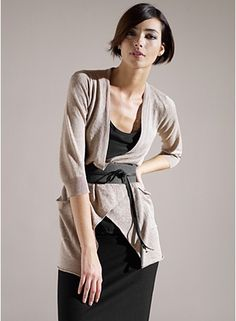 Eileen Fisher | Neutral outfit | Belted cardigan | Black thick belt | Fashion | Outfit inspiration | Style | Black skirt