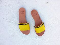 greek leather/leather sandals/aelia /open toe leather slide shoes/yellow/boho chic/genuine leather/flipflop/sandals by aeliasandals on Etsy